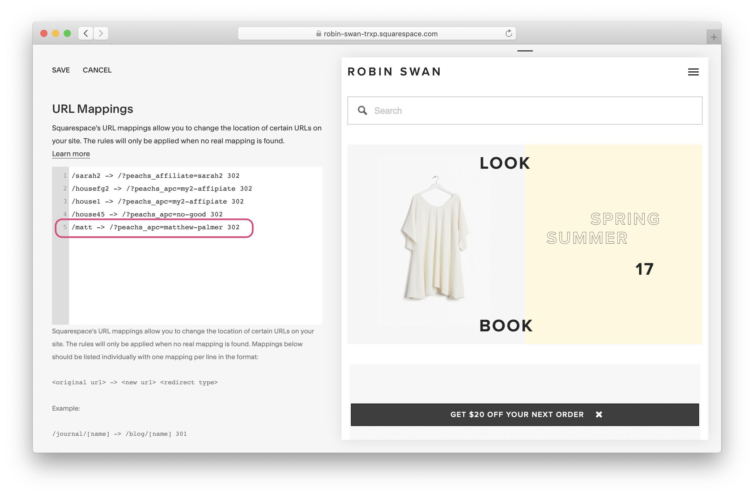 Squarespace URL mapping settings